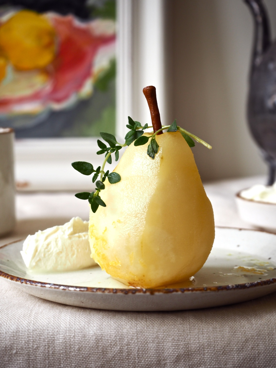 Pears poached in gin & tonic