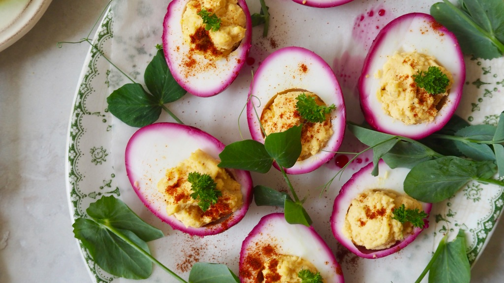 pickled pink devilled eggs