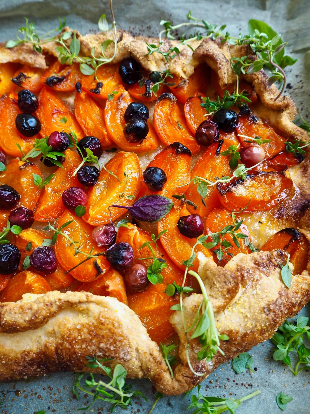 Free-form cherry & apricot tart