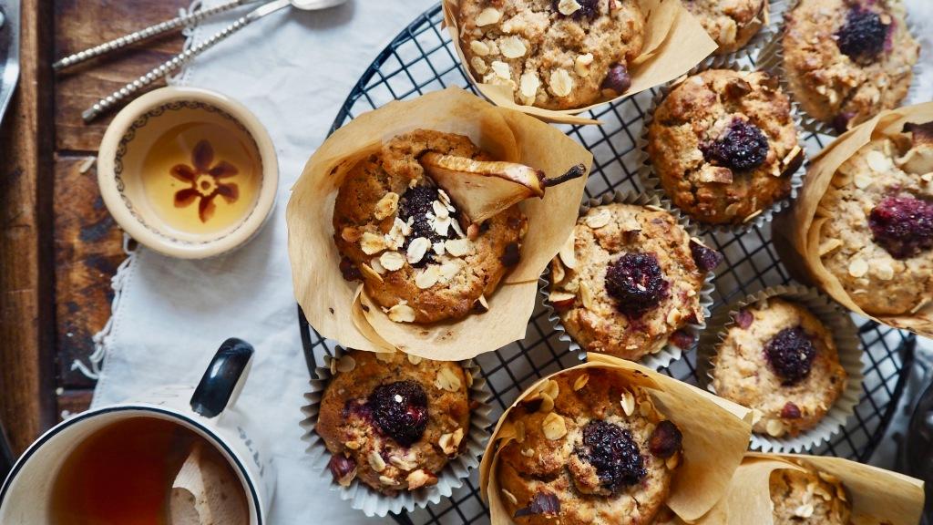 Blackberry, pear & spelt muffins