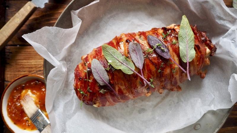 Pork & mushroom meatloaf wrapped in bacon